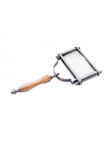 Mosiążne, prostokątne szkło powiększające z rączka z palisandru