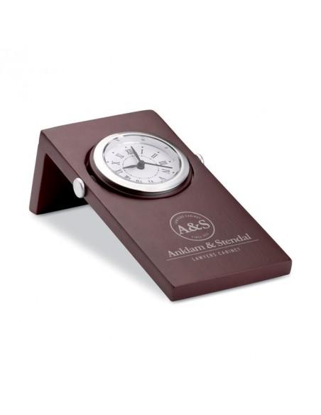 Zegar na drewnianej podstawie -mahoń