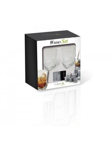 Whisky set- dwie szklanki plus naturalne kamyki do schładzania Vin Bouquet