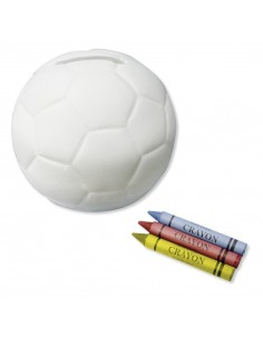 Skarbonka w kształcie piłki z kredkami do kolorowania