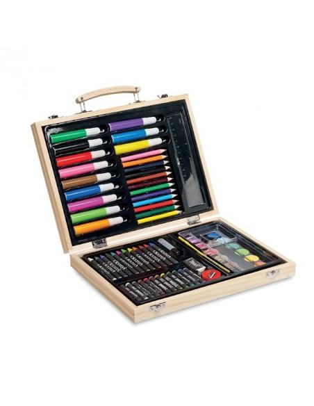 Komplet artysty w drewnianym pudełku