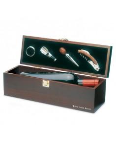 Drewniane pudełko na 1 butelkę wina, z akcesoriami.  COSTIRES