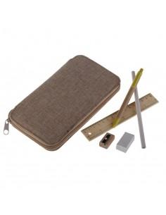 Zestaw biurkowy - piórnik w lnianej oprawie