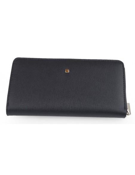b1371bd469417 Duży portfel damski ze skóry naturalnej ozdobiony bursztynem z ...