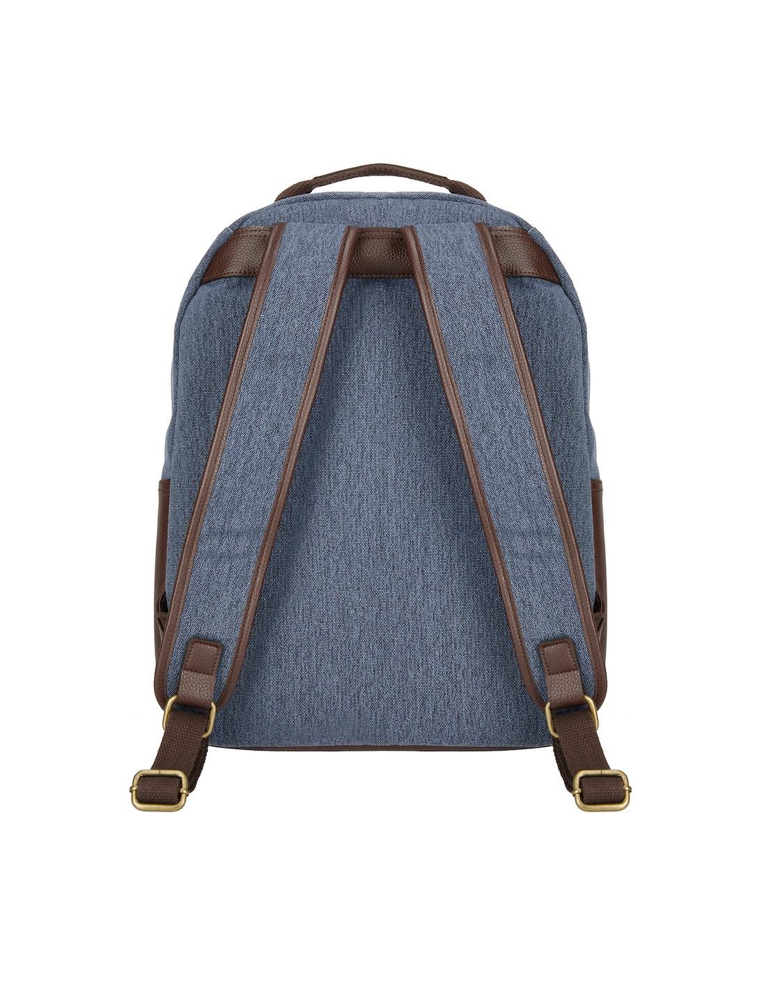 c95be4ff474b2 Niebieski płócienny plecak w stylu vintage Edinburgh z własnym nadrukiem